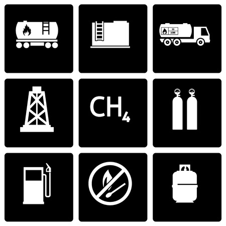 natural gas production: Vector black natural gas icon set on black background