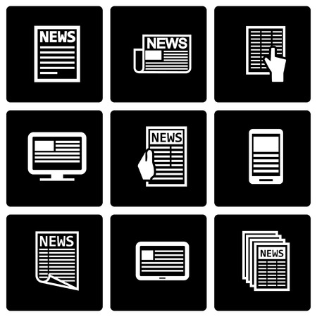 facts: Vector black newspaper icon set on black background