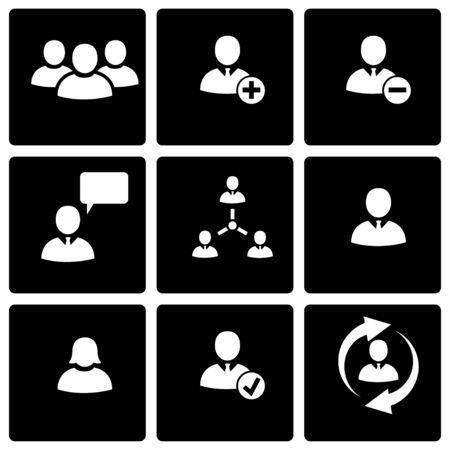 black people: Vector black office people icon set on black background Illustration