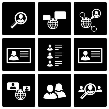 black people: Vector black people search icon set on black background Illustration
