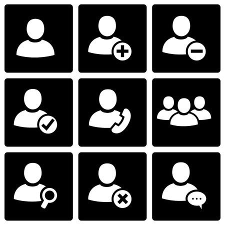 black people: Vector black people icon set on black background