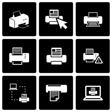 digital printing: Vector black printer icon set on black background