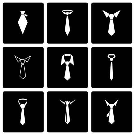 black tie: Vector black tie icon set on black background