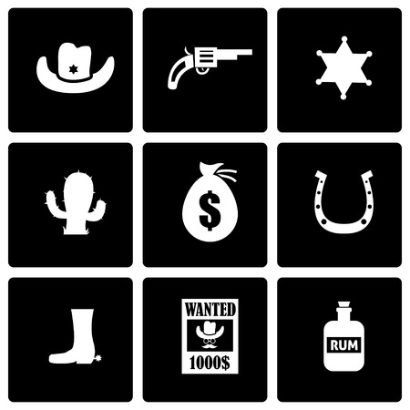 Vector black wild west icon set on black background Vector