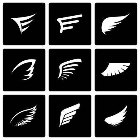 ali angelo: Vettore icona nera ala impostato su sfondo nero Vettoriali