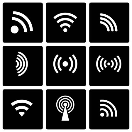 wireles: Vector black wireless icon set on black background