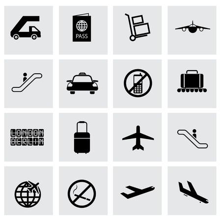 airport lounge: Vector black airport icons set on grey background