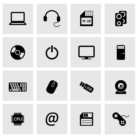 bank book: Vector black computer icons set  on grey background