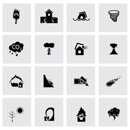 hurricane disaster: Vector black disaster icons set on grey background