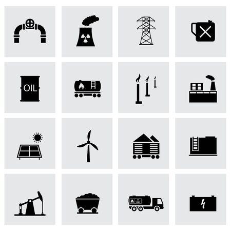 energetics: Vector black energetics icons set on grey background Illustration