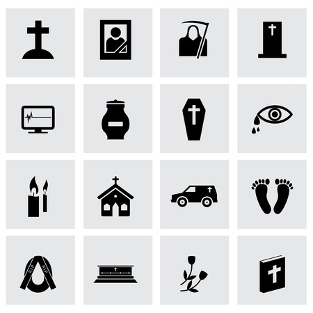 hearse: Vector black funeral icons set on grey background