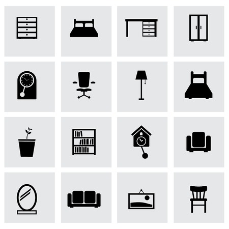 office cabinet: Vector black furniture icons set on grey background