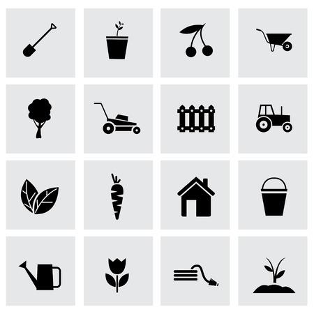 Vector black gardening icons set on grey background