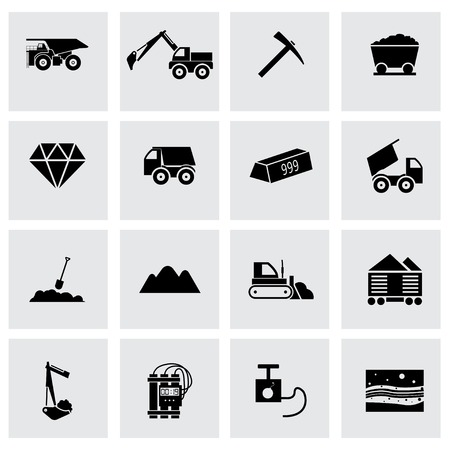 mining: Vector black mining icons set on grey background