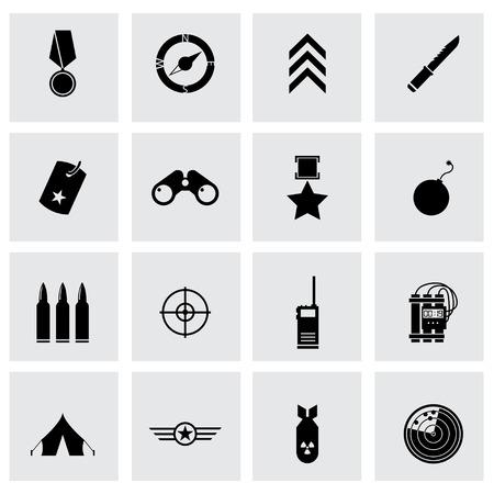 estrellas  de militares: Iconos militares negros del vector fijadas sobre fondo gris Vectores