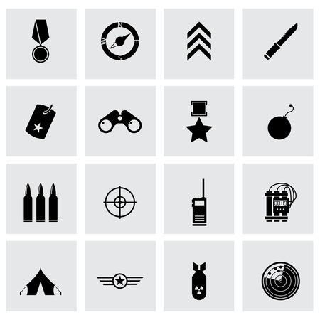 travel star: Vector black military icons set on grey background