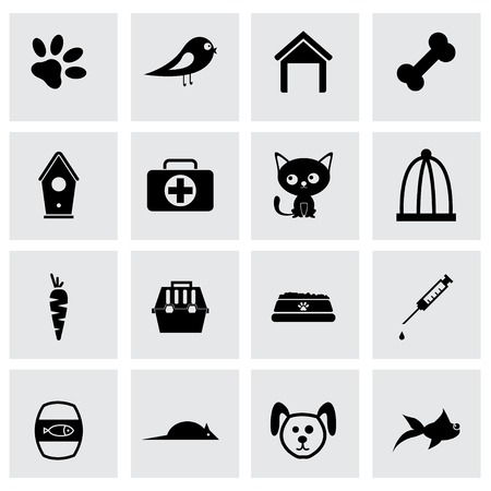 Vector black pet icons set on grey background Vector