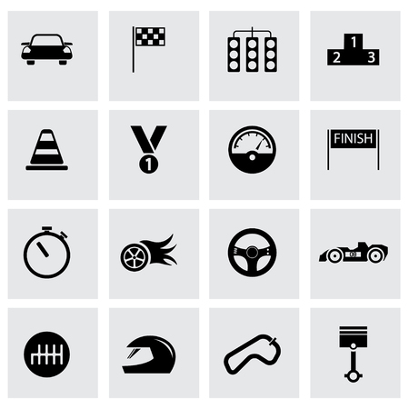 lap: Vector black racing icons set on grey background