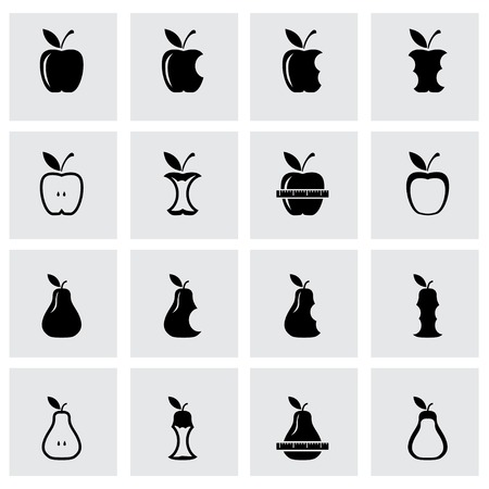 mango slice: Vector black apple and pear icon set on grey background Illustration