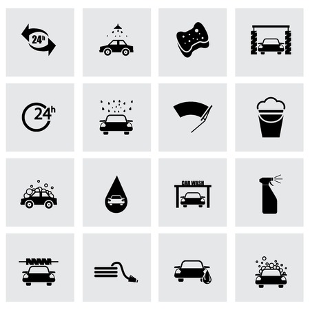 operated: Vector black car wash icon set on grey background