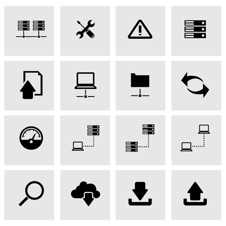 ftp: Vector black FTP icon set on grey background