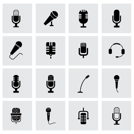 voices: Vector black microphone icon set on grey background