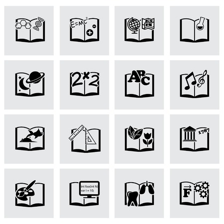 schoolbook: Vector black schoolbook icon set on grey background