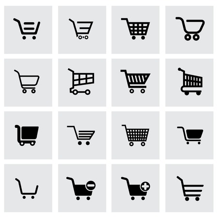 cart icon: Vector black shopping cart icon set on grey background