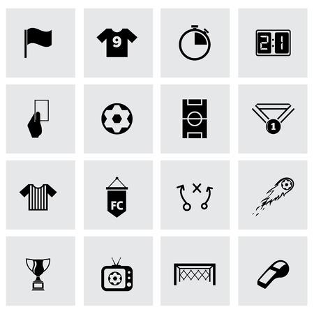 Vector black soccer icon set on grey background Vetores