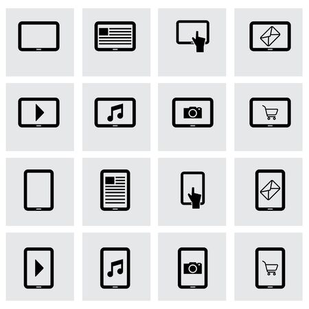 pictogrammes: Vector black tablet icon set on grey background