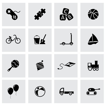 Vector black toys icon set on grey background Vector