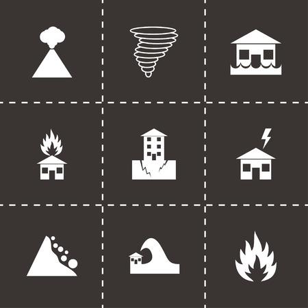hurricane disaster: Vector black disaster icon set on black background Illustration