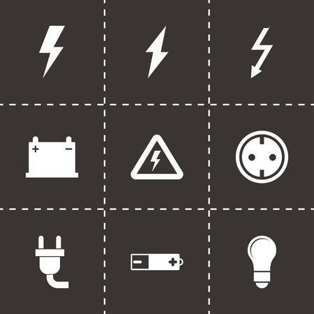 electricity icon: Vector black electricity icon set on black background Illustration
