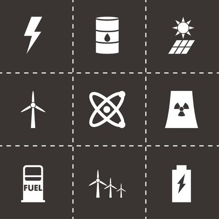 energetics: Vector black energetics icon set on black background