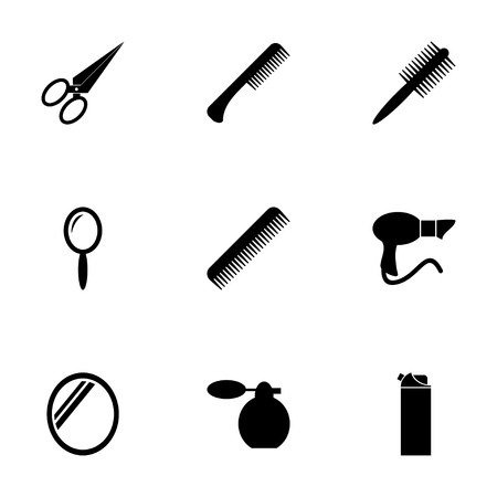 hair brush: Vector black barber icon set on white background
