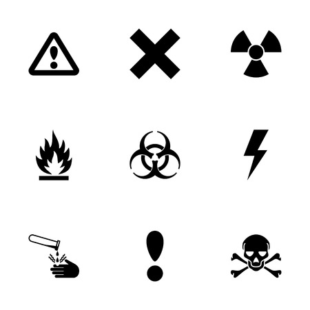 Vector black danger icon set on white background Illustration