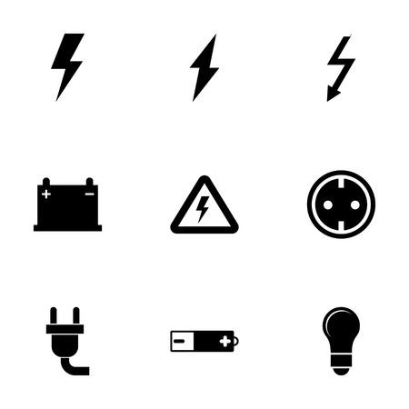 Vector zwarte elektriciteit icon set op een witte achtergrond