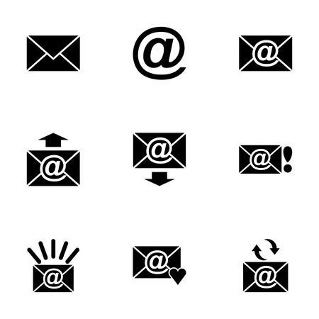 Vector black email icon set on white background