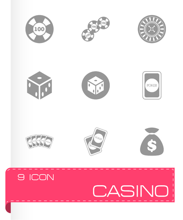 casino machine: Vector black casino icon set on white background Illustration