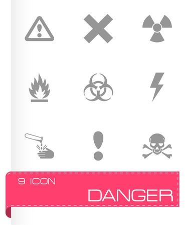 chemical hazard: Vector black danger icon set on white background Illustration