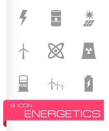 energetics: Vector black energetics icon set on white background