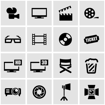 cinema film: Vector black cinema icon set on grey background