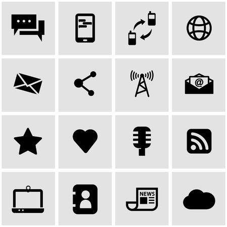 communication icons: Vector black communication icon set on grey background