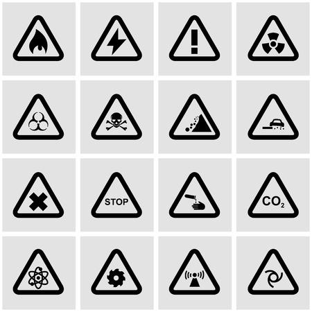 danger icon: Vector black danger icon set on grey background