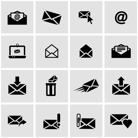 Vector black email icon set on grey background