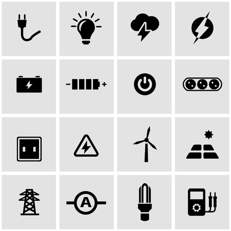 electricidad industrial: Vector icono de electricidad negro situado en el fondo gris