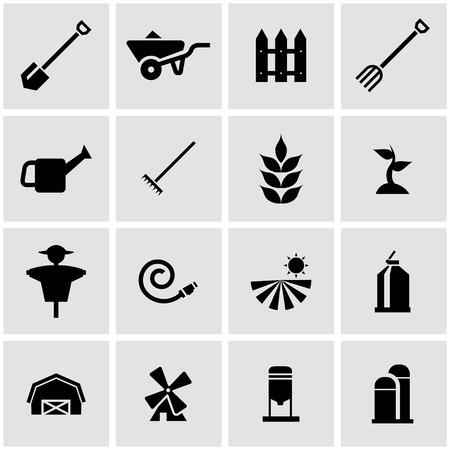farming: Vector black farming icon set on grey background