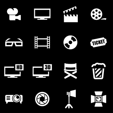 cine: Vector white cinema icon set on black background