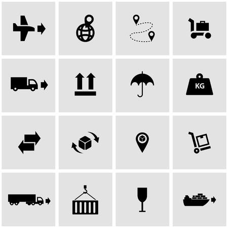 global logistics: Vector black logistic icon set  on grey background Illustration
