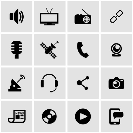 medios de comunicación social: Vector icono del soporte negro establece sobre fondo gris